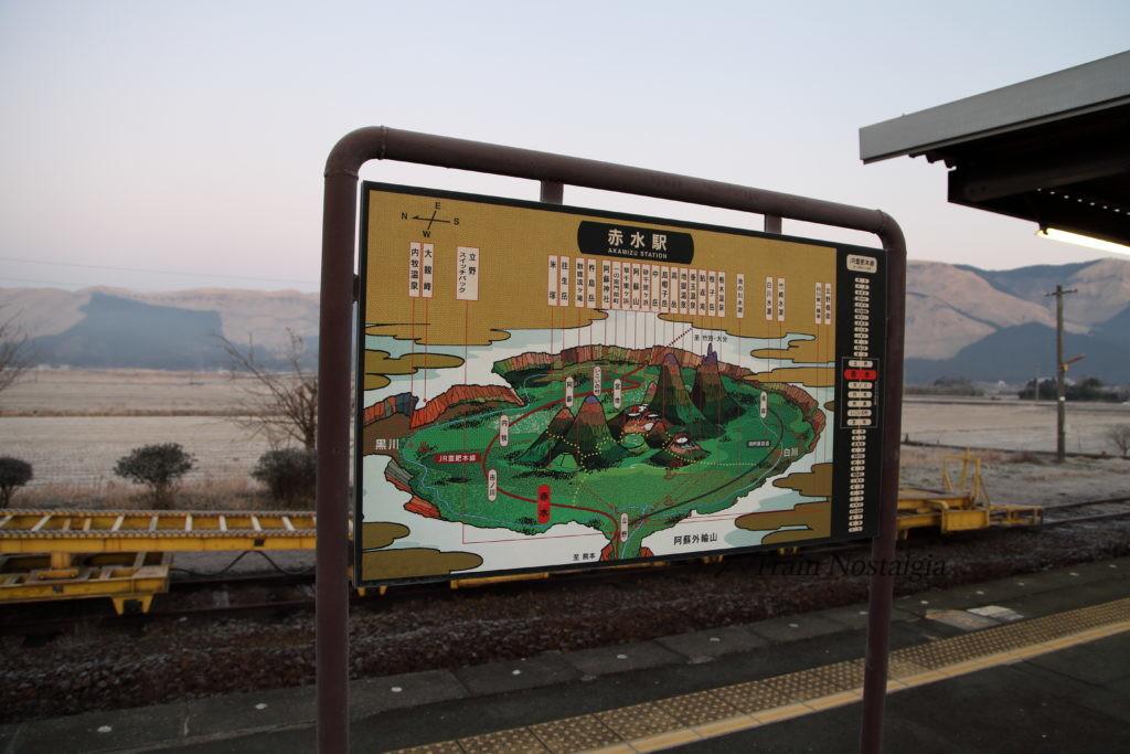 豊肥本線赤水駅ホーム地形図