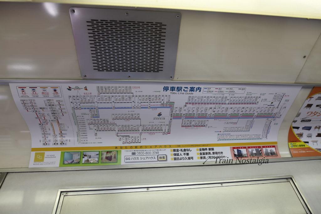 東武鉄道6050系東武本線路線図(快速)