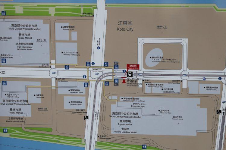 ゆりかもめ市場前駅周辺地図
