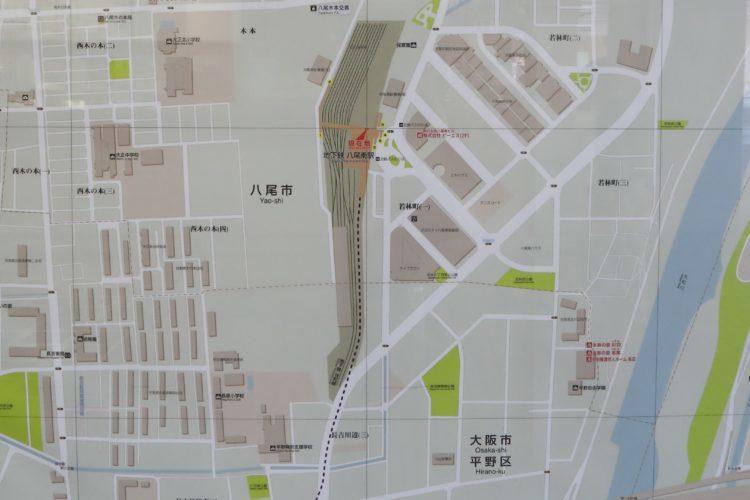 谷町線八尾南駅周辺地図