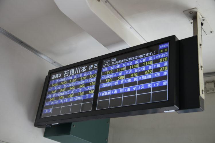 三江線石見川本駅到着時運賃表