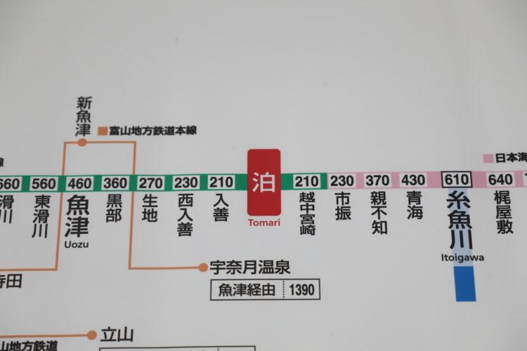 あいの風とやま鉄道泊駅きっぷ運賃表