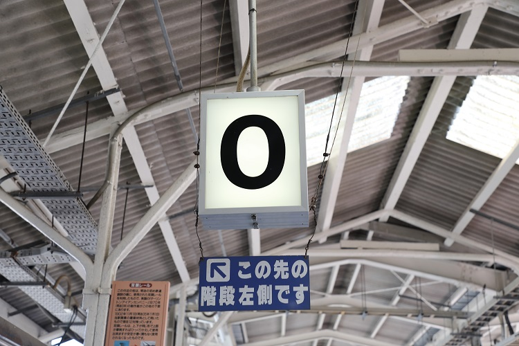 境線米子駅0番乗り場看板