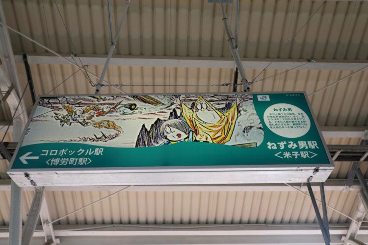 境線米子駅駅名標「ねずみ男駅」