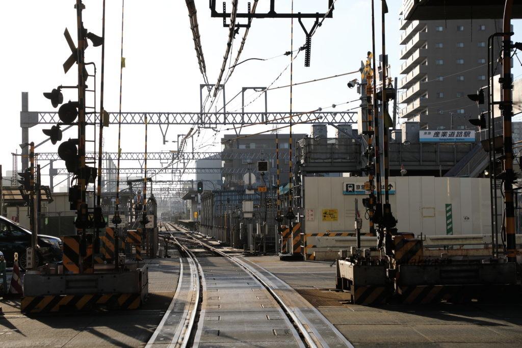 京急大師線産業道路駅と産業道路第一踏切