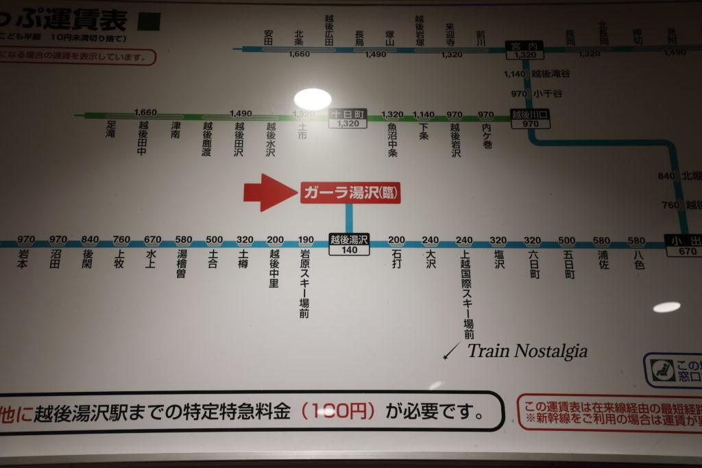 ガーラ湯沢駅運賃表