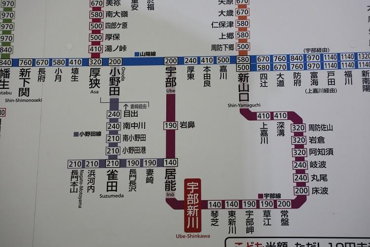 宇部線と小野田線路線図