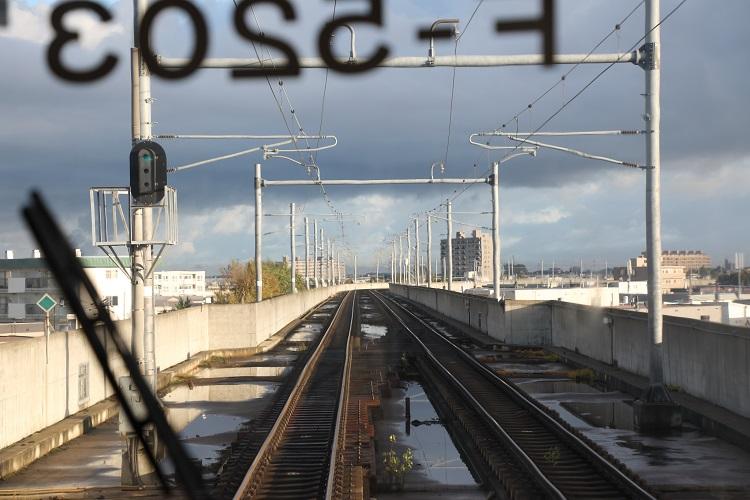 学園都市線電化区間前面展望