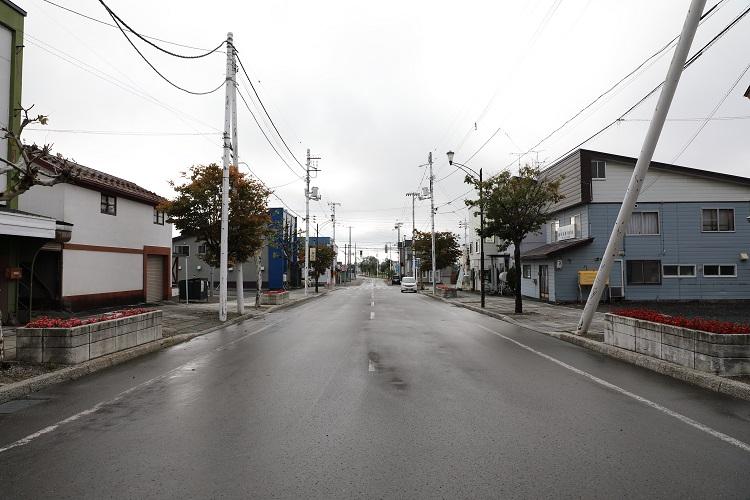 札沼線石狩月形駅駅前通り