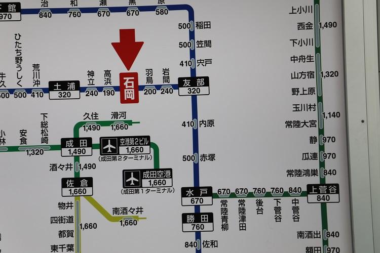 常磐線偕楽園駅周辺路線図