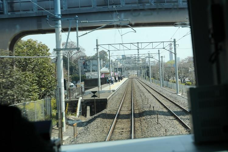 常磐線偕楽園駅ホーム前面展望