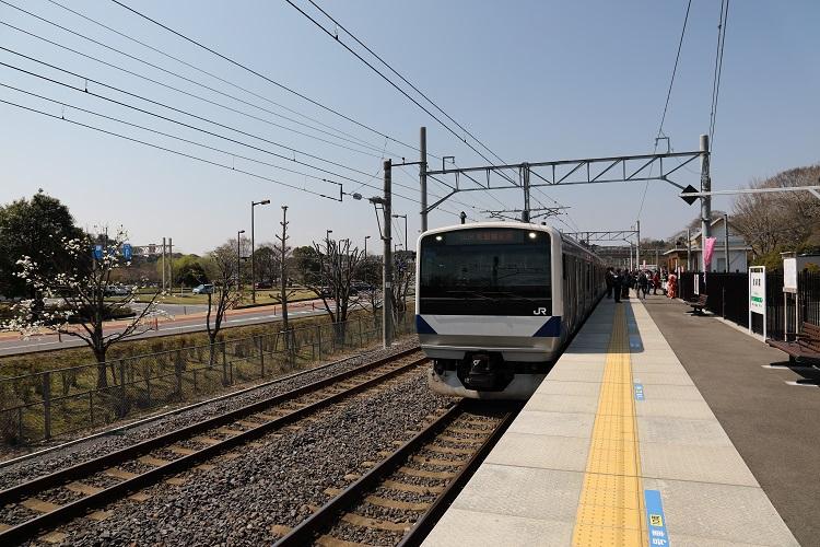 常磐線偕楽園駅ホームと普通列車