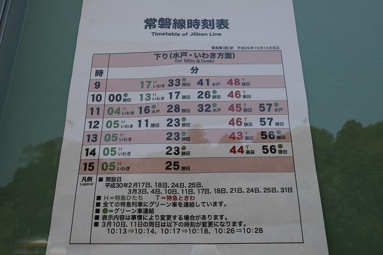 常磐線偕楽園駅時刻表