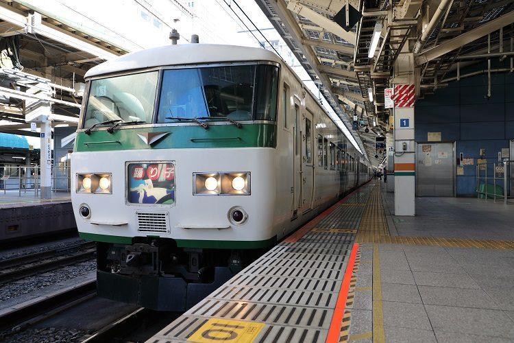 東京駅ホームと185系特急踊り子