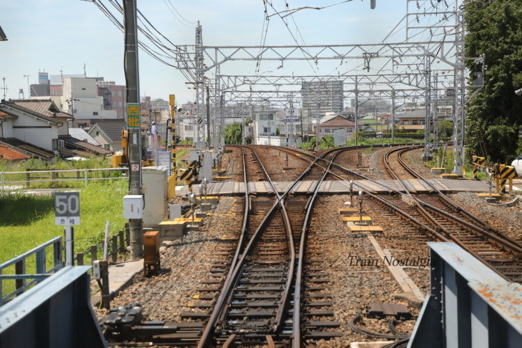 名鉄列車から見た枇杷島分岐点